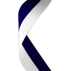 Navy blue and white medal ribbon | Discount Trophies