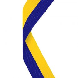 Yellow and blue medal ribbon