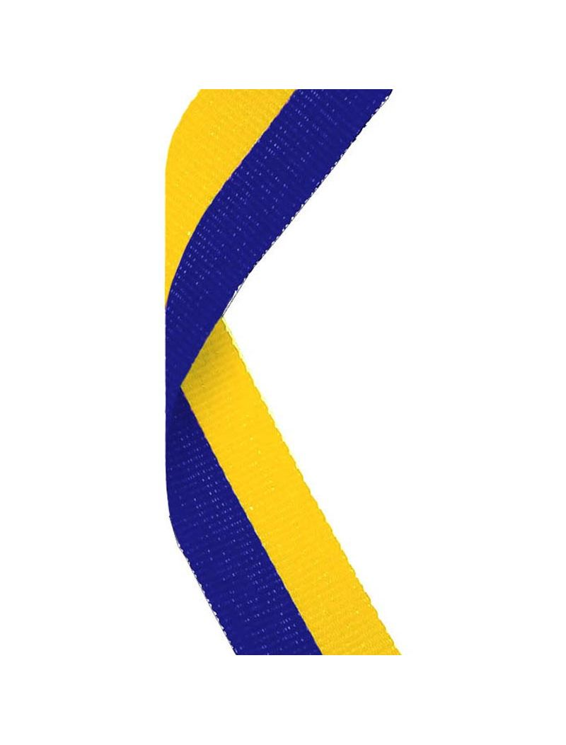 Medal Ribbon, 25mm wide with metal medal clasp MR007 Yellow and Blue